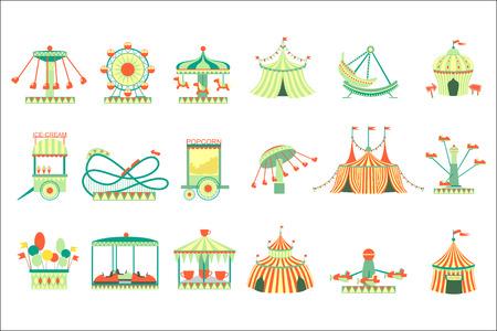 Amusement Park Elements Set Of Cartoon Style Flat Vector Illustrations Isolated On White Background Illusztráció