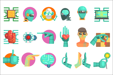 Robotic Technology Set Of Flat Colorful Simplified Graphic Style Icons Isolated On White Background.