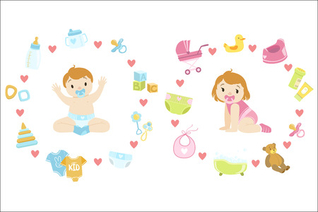 Baby Boy and girl Surrounded With Object It Needs Flat Childish Cartoon Style Bright Color Vector Illustration On White Background