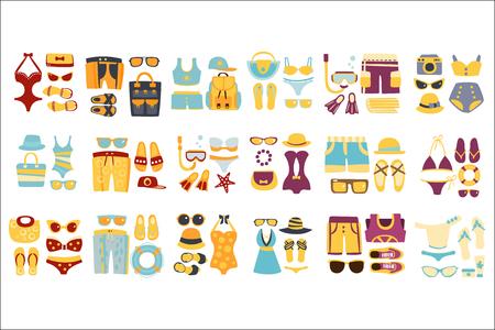 Strand-Outfit-Sets von Kleidung und Accessoires in einfachen flachen Vektor-Stil-flache Illustrationen auf weißem Hintergrund