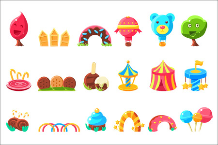 Amusement Park Elements Made Of Sweets Set Of Isolated Bright Color Childish Cartoon Style Illustrations