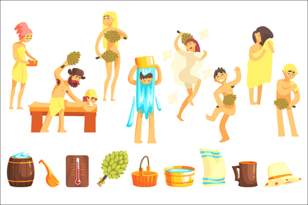 Russian Bathhouse Inventory Set Of Flat Cool Cartoon Vector Illustrations Isolated On White Background.