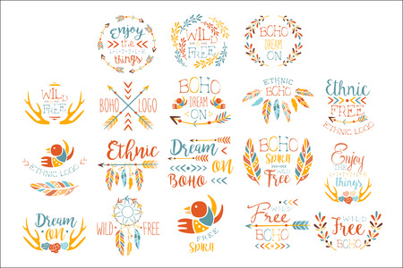 Boho Logo Hand Drawn Banner Set Of Artistic Decorative Vector Design Writing.