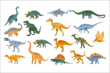 Dinosauri periodo Giurassico Set piatto semplificato in stile cartone animato colore brillante illustrazione vettoriale su sfondo bianco.