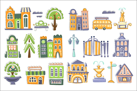 City Buildings And Other Elements Creative Design Set Illustration