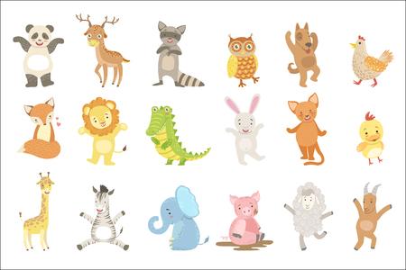 Conjunto de animales humanizados de pegatinas divertidas artísticas en vector de diseño infantil aislado sobre fondo blanco. Ilustración de vector