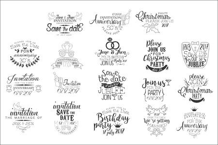 Evento especial invitación dibujada a mano conjunto de escritura artística decorativa de diseño vectorial