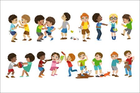 Kinderen pesten kinderachtige cartoon stijl schattige vectorillustratie op witte achtergrond