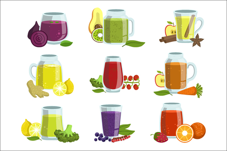 Fresh Smoothie Icon Set Of Bright Color Isolated Vector Drawings In Simple Cartoon Design On White Background Çizim