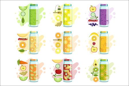 Ensemble de recettes de smoothies de dessins vectoriels isolés de couleur vive dans un dessin animé simple sur fond blanc