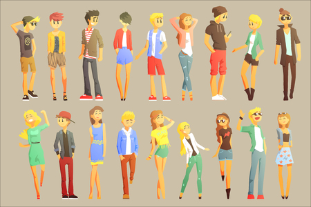 Young Stylishly Dressed People Flat Cool Cartoon Style Vector Drawings Set. Banque d'images - 107317101
