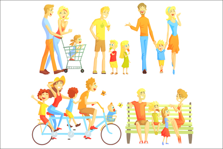 Family Weekend Illustration Of Simple Stylized Flat Vector Drawings On White Background.