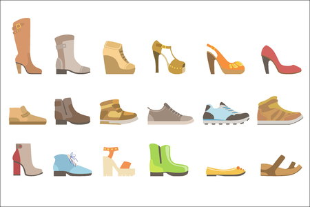 Different Shoes Set Flat Simplified Cartoon Style Bright Color Vector Illustration On White Background.