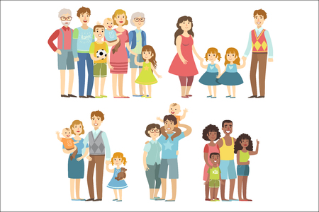 Happy Families Posing Together Simplified Cartoon Style Flat Vector Colorful Illustrations On White Background.