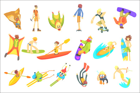Extreme Sports Illustration Set Of Cool Stylized Flat Vector Drawings On White Background.