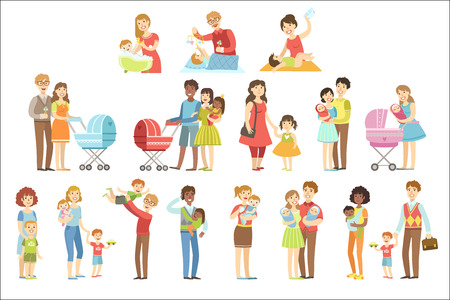 Happy Families With Small Children Flat Childish Cartoon Style Bright Color Vector Illustration On White Background. Stock Photo