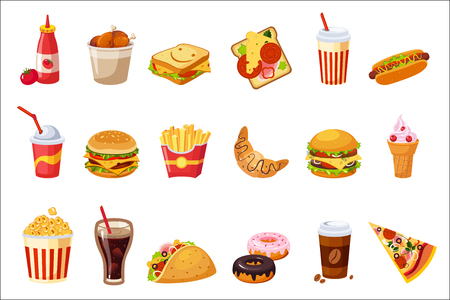 Fast Food Items Set Of Realistic Design Vector Stickers Isolated On White Background.