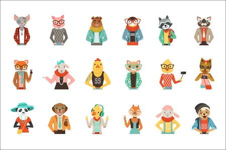 Cute humanized animals in fashion clothes set of vector Illustrations isolated on white background  イラスト・ベクター素材