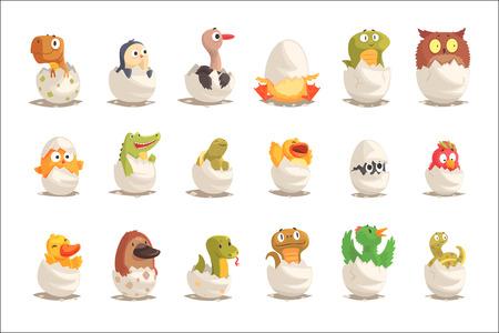 Kuikens en reptielen komen uit eieren set, ongeboren dieren vector illustraties geïsoleerd op een witte achtergrond Vector Illustratie