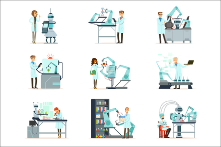New technologies, artificial intelligence set, scientists working in the laboratory with robotic machines vector Illustrations isolated on white background
