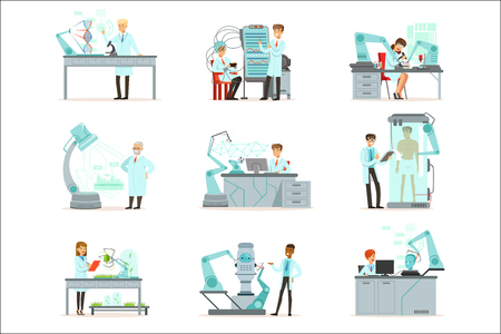 Artificial intelligence, new technologies set, scientists working in the laboratory with robotic machines vector Illustrations isolated on white background