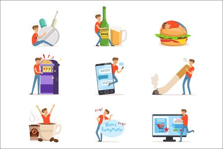 Bad habits set, alcoholism, drug addiction, smoking, gambling addiction, smartphone, shopping, coffeemania, gluttony with obesity vector Illustrations isolated on white background