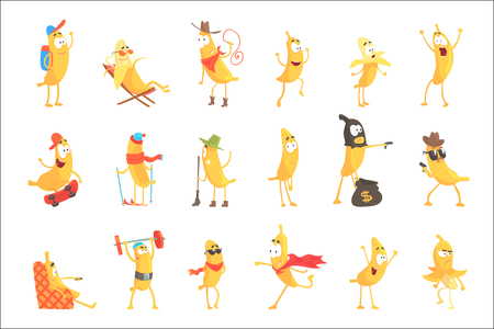 Cute happy humanized bananas in different actions set of vector Illustrations isolated on white background