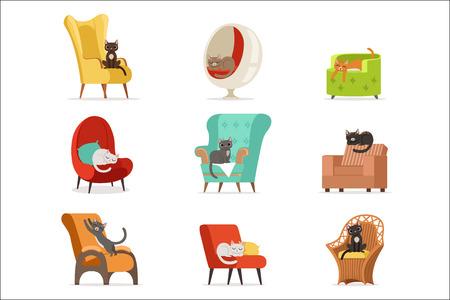 Simpatici personaggi di gatti diversi sdraiati e riposati su poltrone set di illustrazioni vettoriali isolati su sfondo bianco