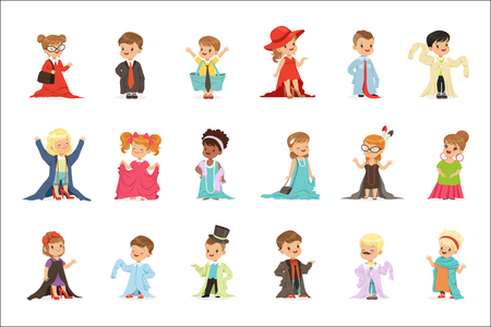Cute little kids wearing elegant adult oversized clothes set, children pretending to be adults vector Illustrations isolated on white background