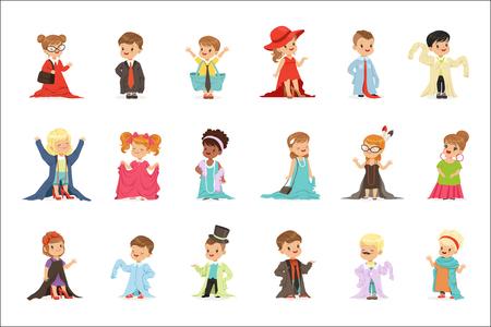 Mignons petits enfants portant des vêtements surdimensionnés pour adultes élégants, enfants se faisant passer pour des adultes vector Illustrations isolées sur fond blanc Vecteurs