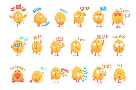 Schattige kippen stripfiguren met verschillende emoties en zinnen set van vector illustraties geïsoleerd op een witte achtergrond