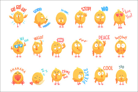 Cute cartoon chickens characters with different emotions and phrases set of vector Illustrations isolated on white background