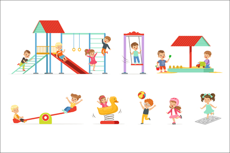 Cute cartoon little kids playing and having fun at the playground set, children playing outdoors vector Illustrations isolated on white background Ilustrace