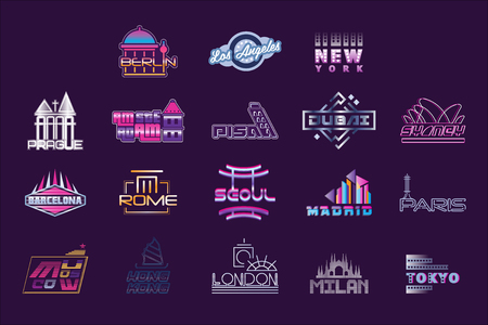 World cities labels set, graphic templates vector Illustrations on a putple background