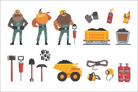 Set di industria mineraria del carbone, minatori di lavoro, trasporti, attrezzature per minatori e strumenti illustrazione vettoriale isolato su sfondo bianco