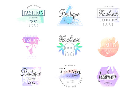 Fashion luxury boutique set for design. Colorful vector Illustrations for business sign, identity for beauty, fashion or cosmetic center, salon, shop, Stock Illustratie