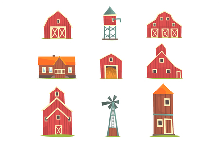 Farm buildings and constructions set, countryside life and agriculture industry objects vector Illustrations isolated on white background