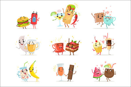 Cute funny food characters having fun vector Illustrations isolated on white background