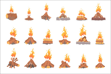 Cartoon bonfires set, types of tourist tcampfires vector Illustrations isolated on white background Illustration