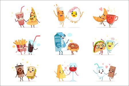 Personajes de dibujos animados de comida cómica lindo, mejores amigos ilustraciones vectoriales aisladas sobre fondo blanco Ilustración de vector