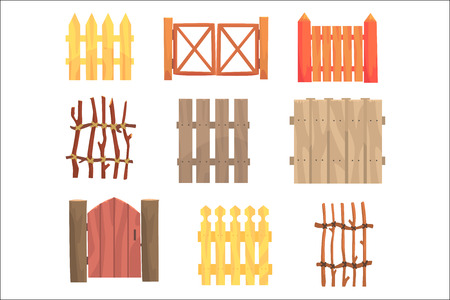 Different garden wooden fences and gates set, rural hedges vector Illustrations isolated on white background Vettoriali