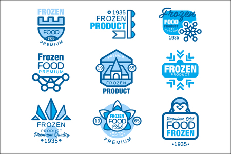 Frozen food product set of   templates hand drawn vector Illustrations in blue colors