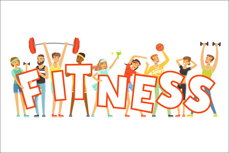 Group of smiling people in sport uniform holding the word Fitness cartoon colorful vector Illustration on a white background