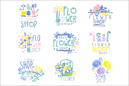 Best flower shop set of   templates hand drawn vector Illustrations