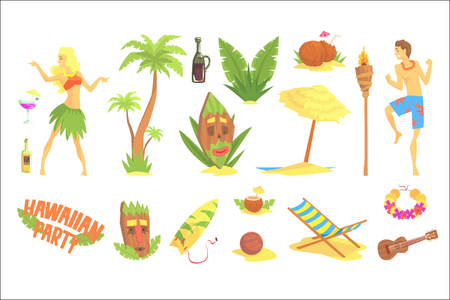 Hawaiian party set, Hawaii symbols vector Illustrations on a white background
