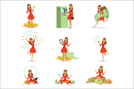 Happy young millionaire woman in a red dress enjoying her money and wealth, set of colorful detailed vector Illustrations isolated on white background