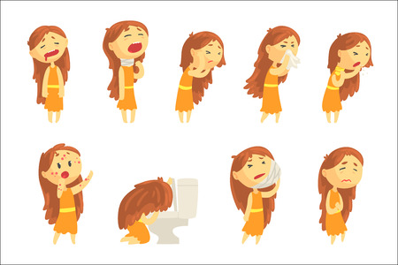 Cartoon unhappy woman suffering from pain with symptoms of diseases in various pose, set of colorful detailed vector Illustrations isolated on white background