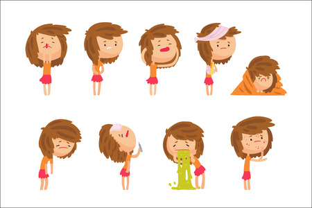 Cartoon unhappy girl suffering from pain with symptoms of diseases in various pose, set of colorful detailed vector Illustrations isolated on white background