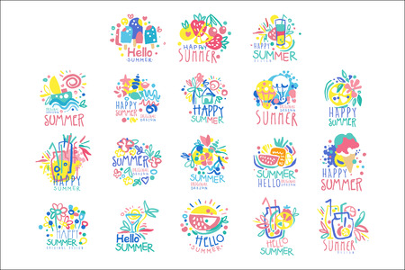 Happy Summer template original design set, colorful hand drawn vector Illustrations