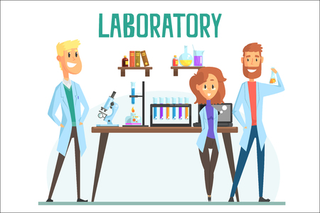 Smiling scientists man and woman working in a lab, interior of science laboratory, carton vector Illustration